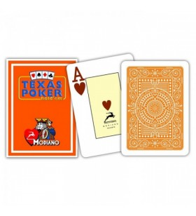 Cartes à jouer Poker Texas Plastic Modiano Orange