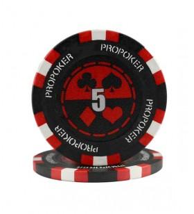 25 Jetons de Poker au rouleau  en clay composite 13,5 gr
