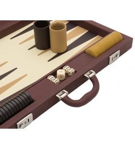 Mallette Backgammon luxe taille tournoi Cuir Marron