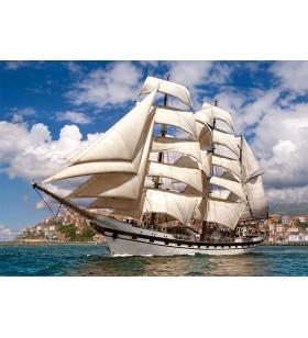 Puzzle 500 pièces Tall Ship levaing harbor