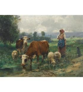 Puzzle 1000 pièces- Julien Dupré - La bergère avec son troupeau