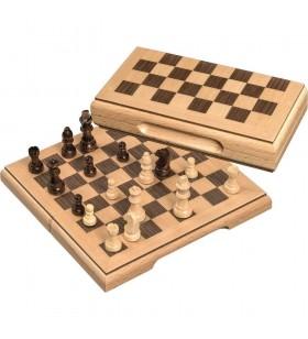 Coffret échecs en bois magnétique format voyage