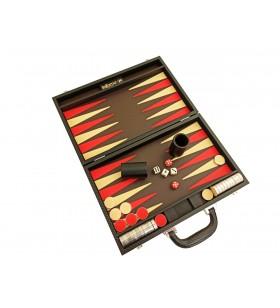 Backgammon Cuir Noir/Rouge